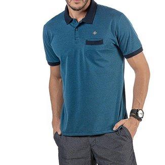 Camisa Polo em Retilínea Masculina com Bolso e Aplique Azul