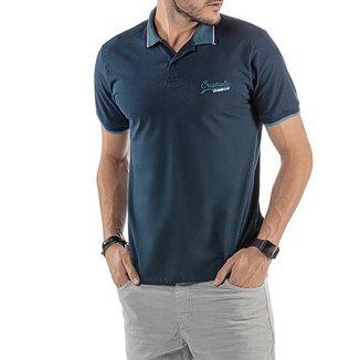 Camisa Polo em Retilínea Masculina com Bordado Azul Marinho