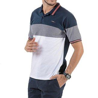 Camisa Polo em Retilínea Masculina com Bordado Branca