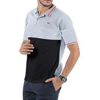 Camisa Polo em Retilínea Masculina com Bordado Cinza