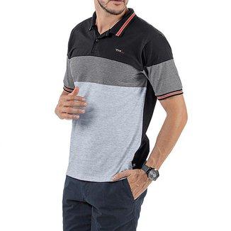 Camisa Polo em Retilínea Masculina com Bordado Preta