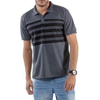 Camisa Polo em Retilínea Masculina com Estampa Cinza Escura