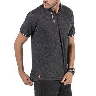 Camisa Polo em Retilínea Masculina com Estampa e Aplique Cinza Escura