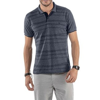 Camisa Polo em Retilínea Masculina com Estampa e Bordado Cinza