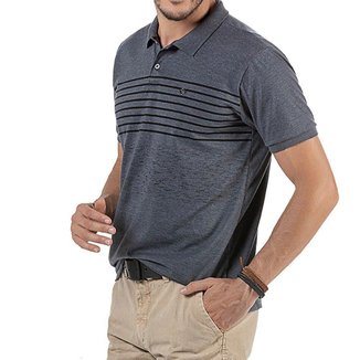 Camisa Polo em Retilínea Masculina com Estampa e Plaquinha Cinza Escura