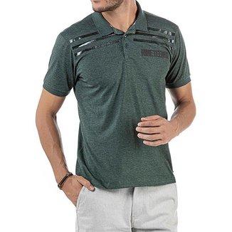 Camisa Polo em Retilínea Masculina com Estampa Verde Escura