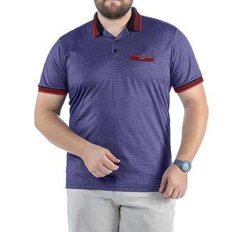 Camisa Polo em Retilínea Masculina Plus com Bolso e Plaquinha Azul Marinho
