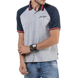 Camisa Polo em Retilínea, Raglan Masculina com Estampa Cinza