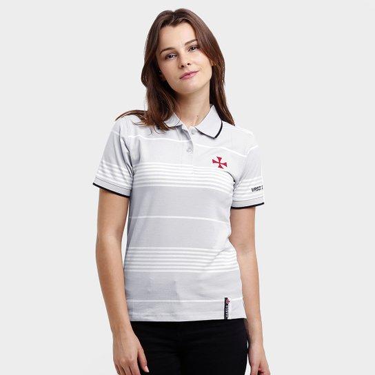 Camisa Polo Feminina Vasco Botões - Cinza