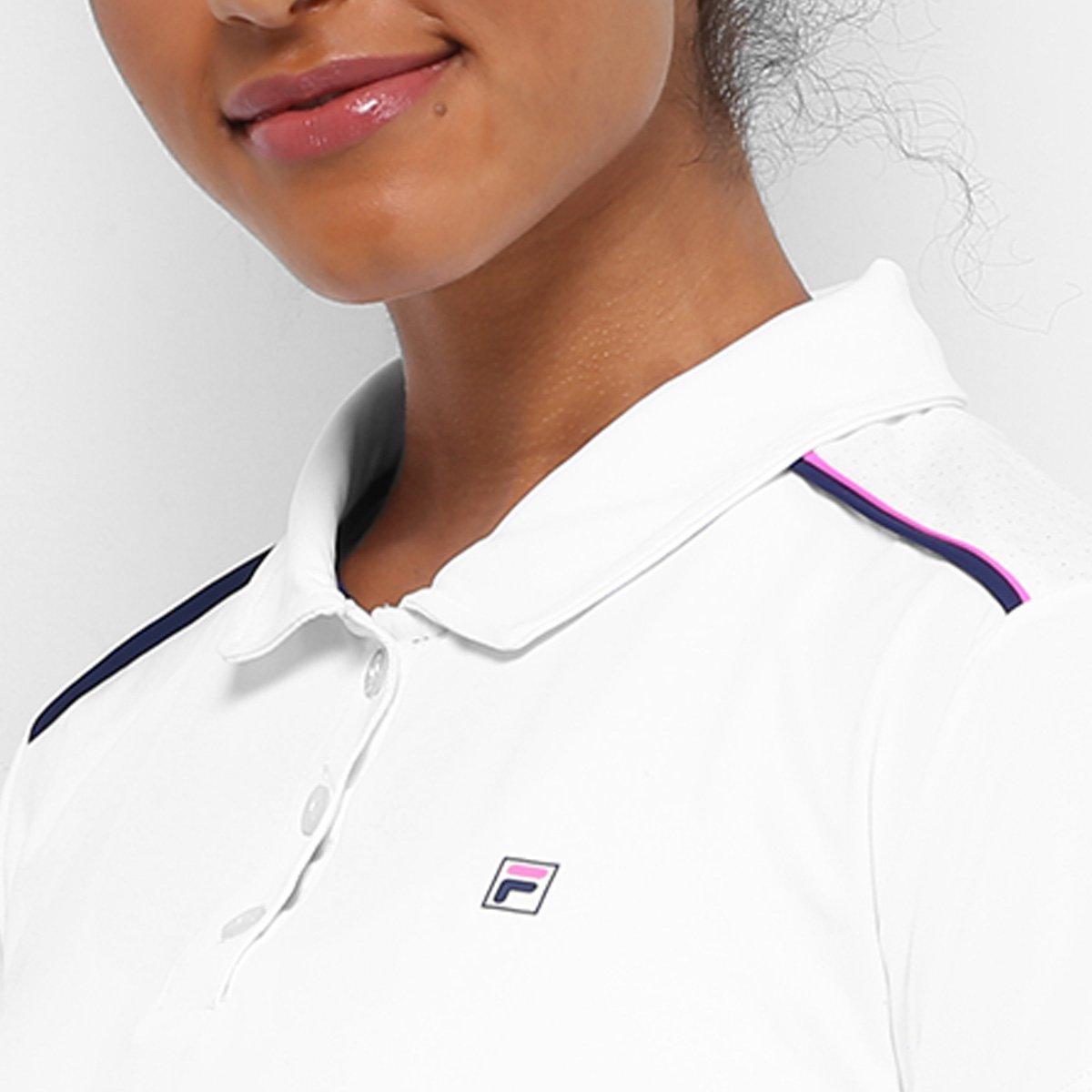 Camisa Polo Fila Basic II Feminina - Branco e Rosa - Compre Agora ... fe43f945a1d86