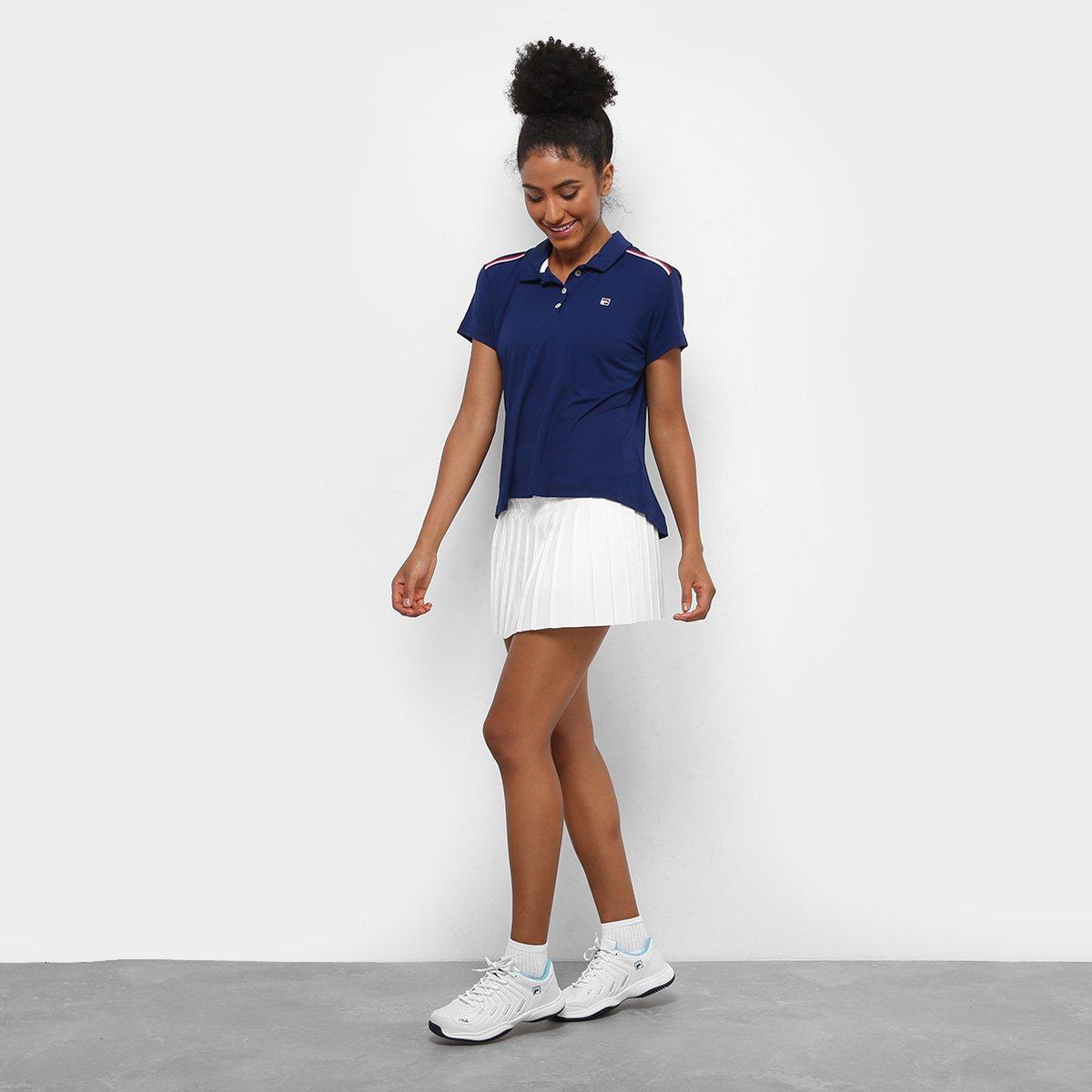 Camisa Polo Fila Basic II Feminina - Marinho e Branco - Compre Agora ... 29389aaea9534