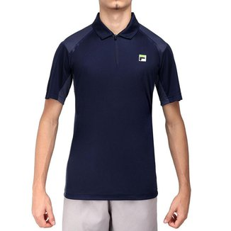 Camisa Polo Fila Fusion Plaid Marinho