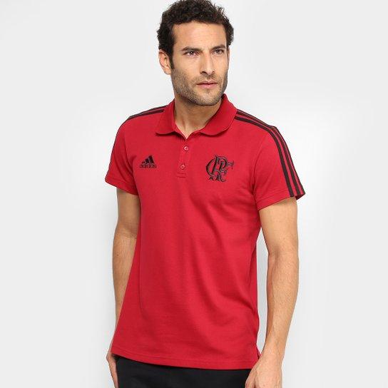 Camisa Polo Flamengo Adidas 3 Stripes Masculina - Vermelho+Preto