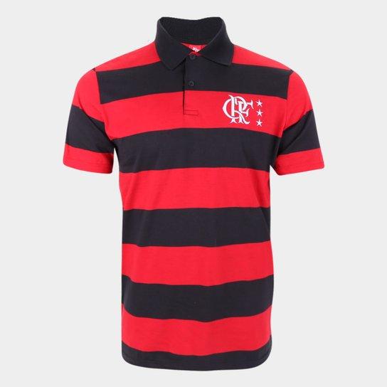 Camisa Polo Flamengo Control Masculina - Preto+Vermelho