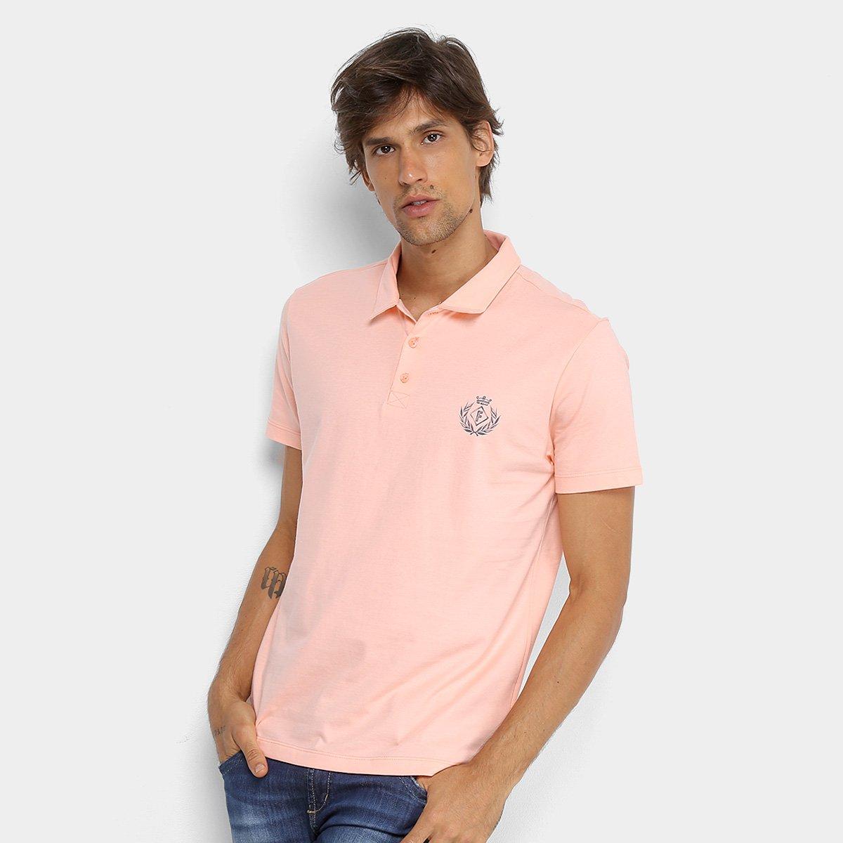 Camisa Polo Forum Malha Silk New Logo Masculina - Laranja Claro ... 007f5b0a7a4a8