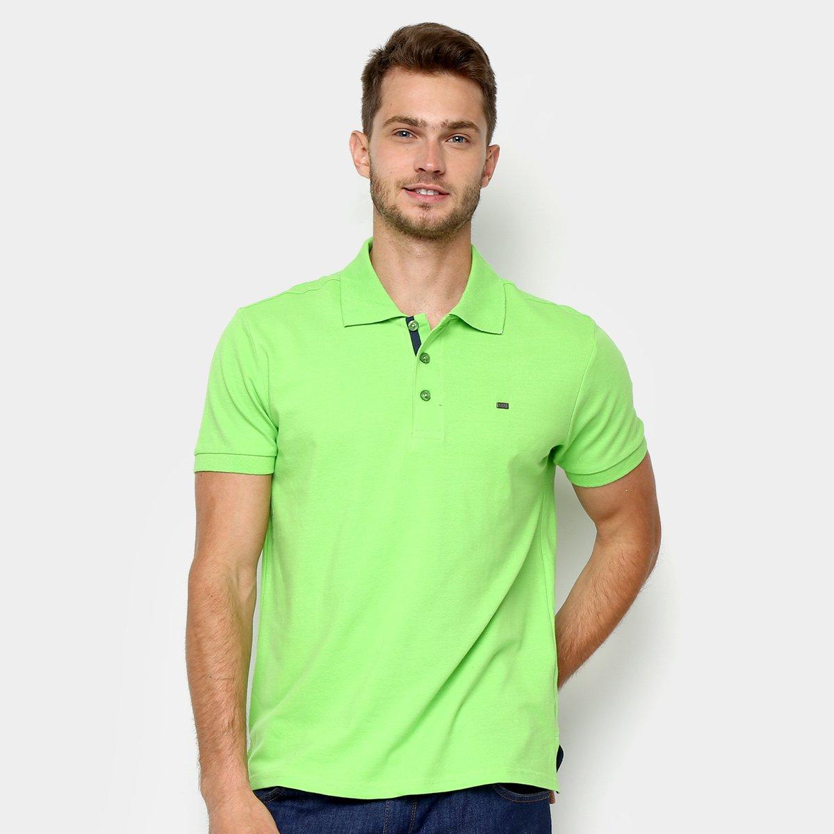 91fe790936dd9 Camisa Polo Gangster Piquet Com Elastano Masculina - Verde Limão - Compre  Agora