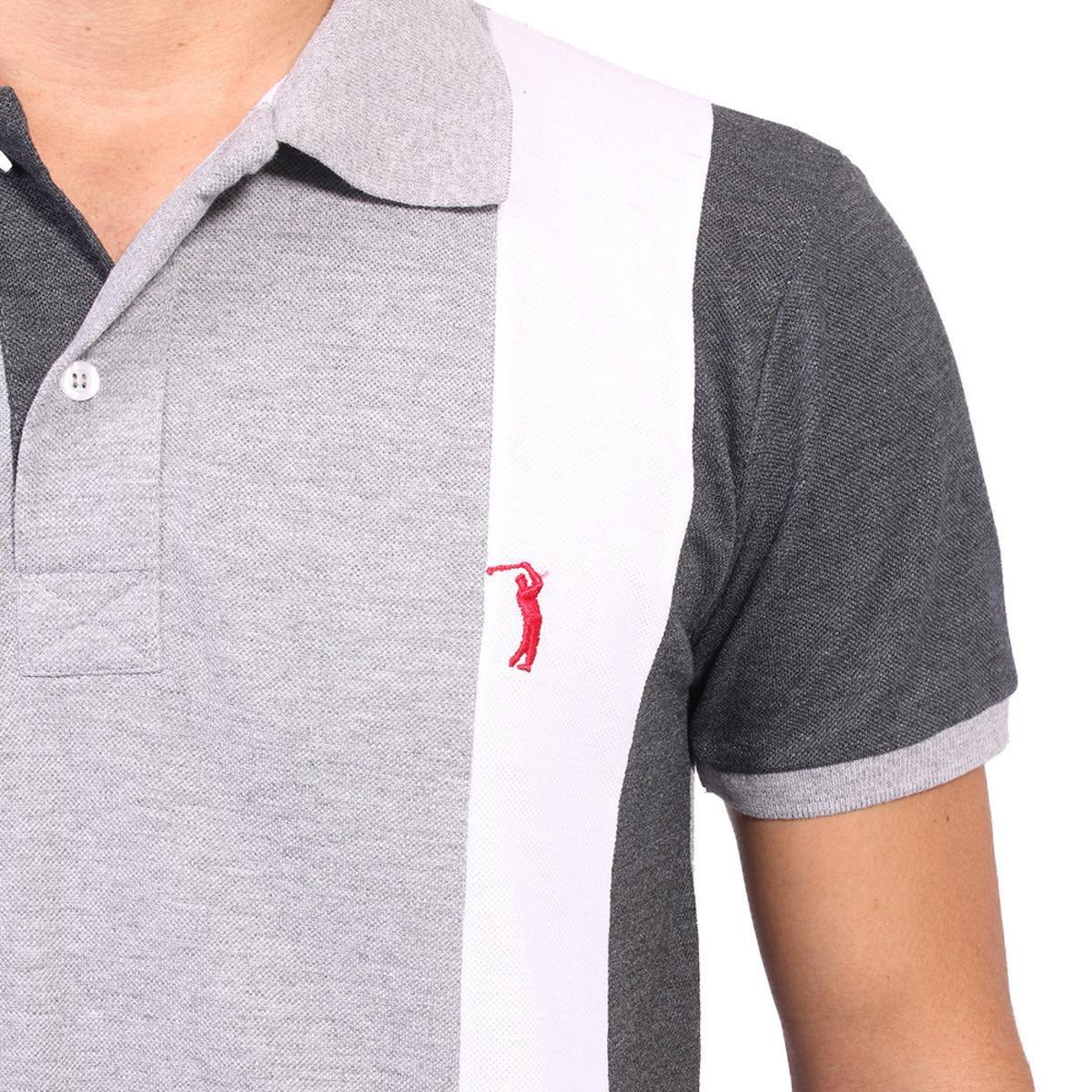 Camisa Polo Golf Club Listrada Masculina - Cinza e Chumbo - Compre ... 3b3b278dd51f3