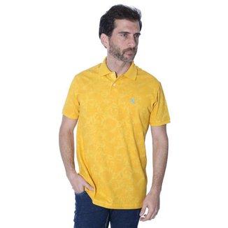 Camisa Polo Hipica Polo Club Full Print Folhas Masculina