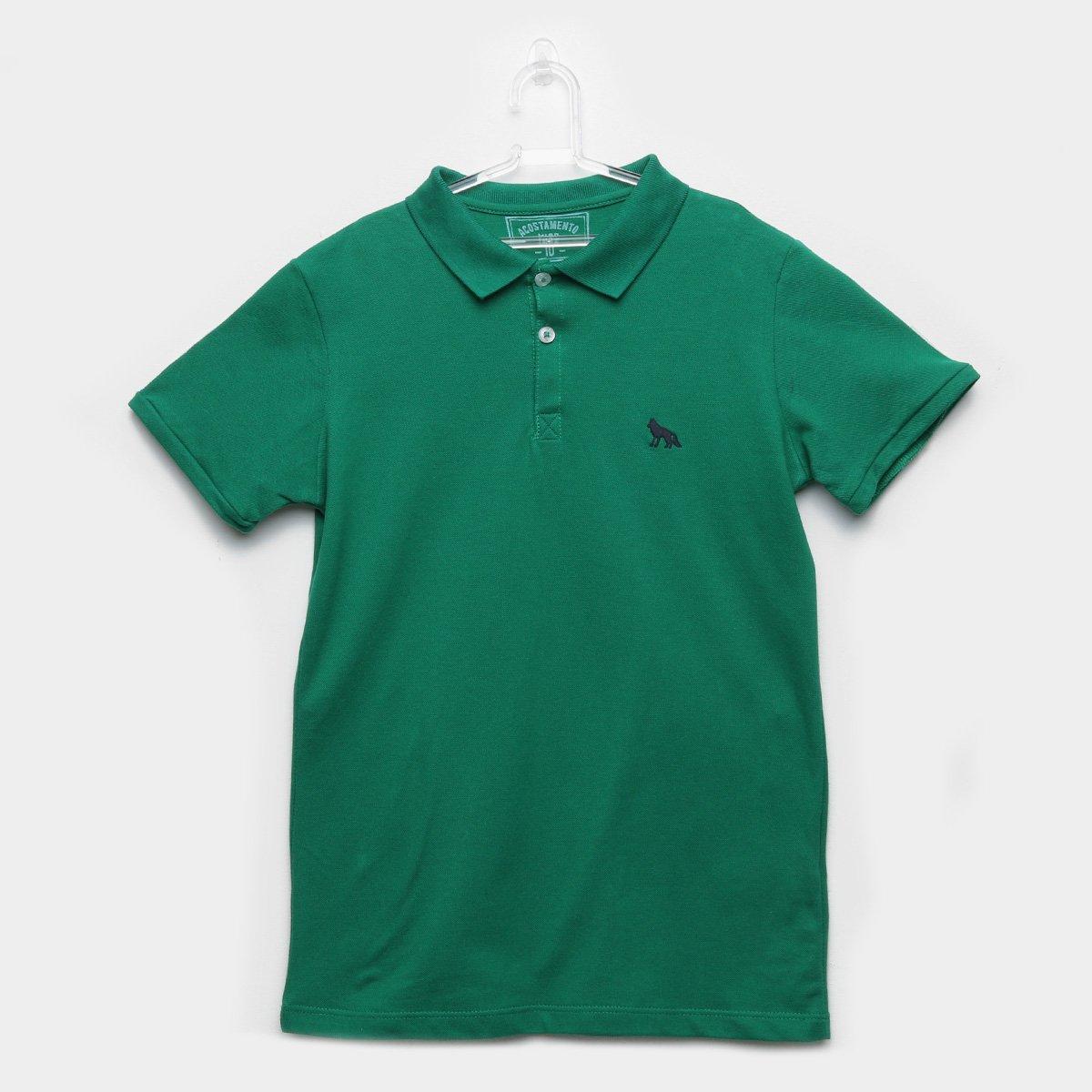 f4491d900db18 Camisa Polo Infantil Acostamento Detalhe Bordado Masculina - Verde - Compre  Agora