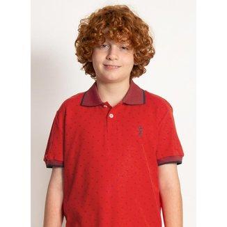 Camisa Polo Infantil Aleatory Mini Print Fair Masculina