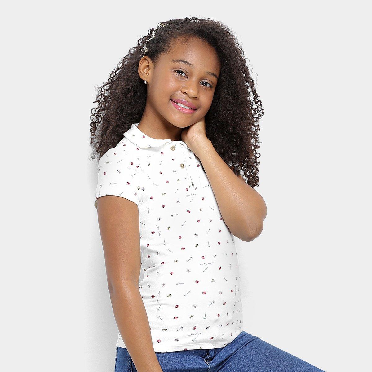 Polo Camisa Camisa Ripilica Joaninhas Polo Lilica Feminina Infantil Branco E6Ex5qwaRr