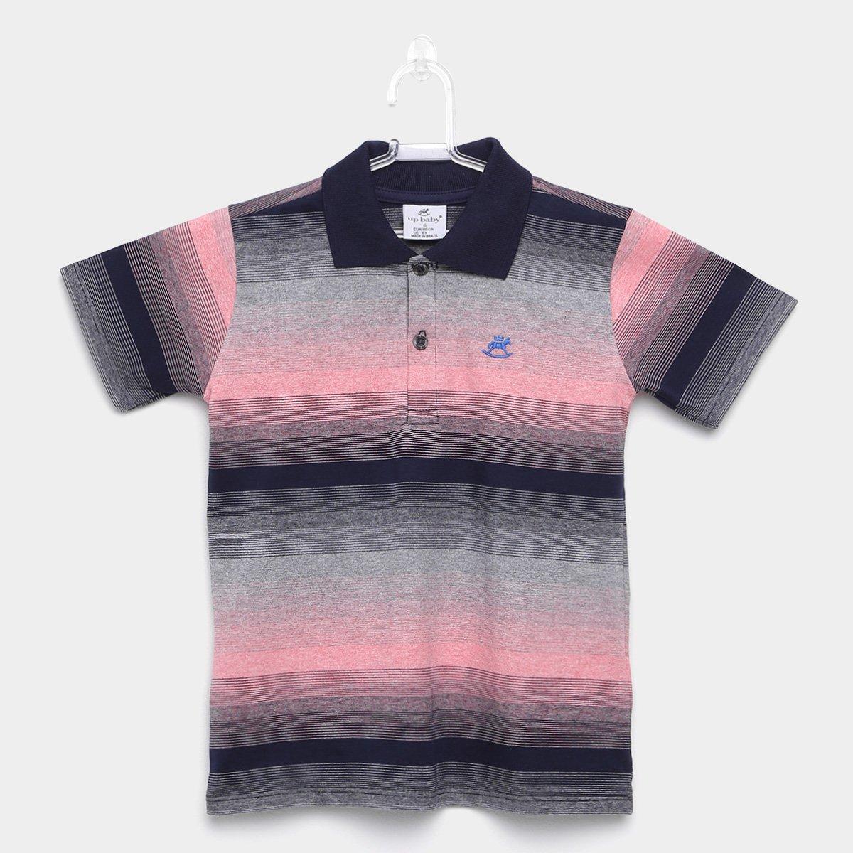 b5838976a1b5a Camisa Polo Infantil Up Baby Malha Listrada Masculina - Marinho e Rosa Claro  - Compre Agora