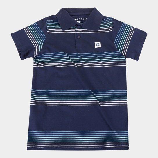 Camisa Polo Juvenil Hang Loose Listrada Masculina - Marinho