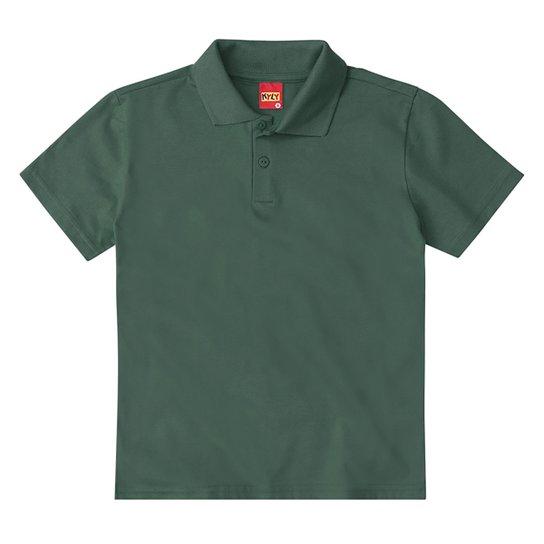 Camisa Polo Juvenil Kyly Meia Malha Básica Masculina - Verde escuro