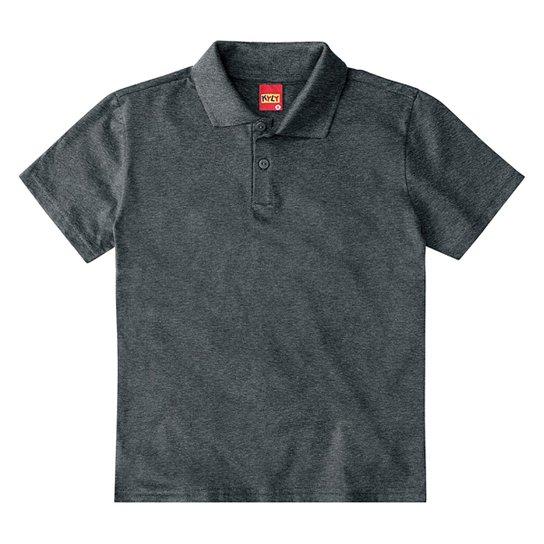 Camisa Polo Juvenil Kyly Meia Malha Básica Masculina - Chumbo