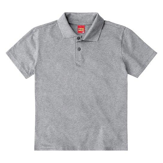 Camisa Polo Juvenil Kyly Meia Malha Básica Masculina - Mescla