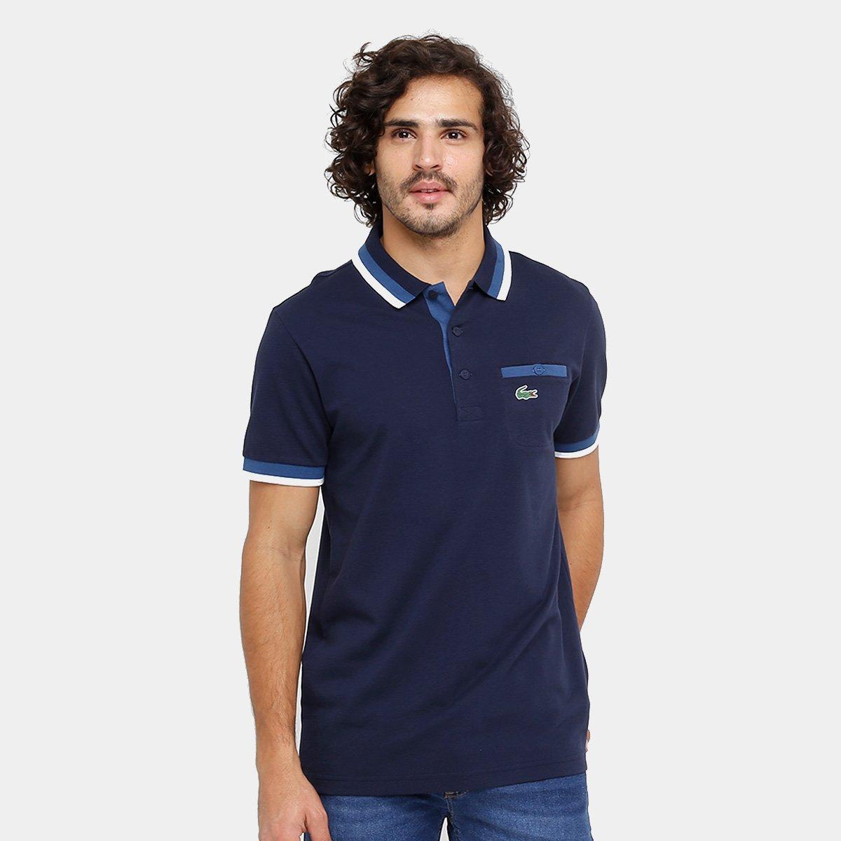 136acf4b7b6 Agora Compre Netshoes Bolso Botão Lacoste Camisa Polo Masculina RwFYYX