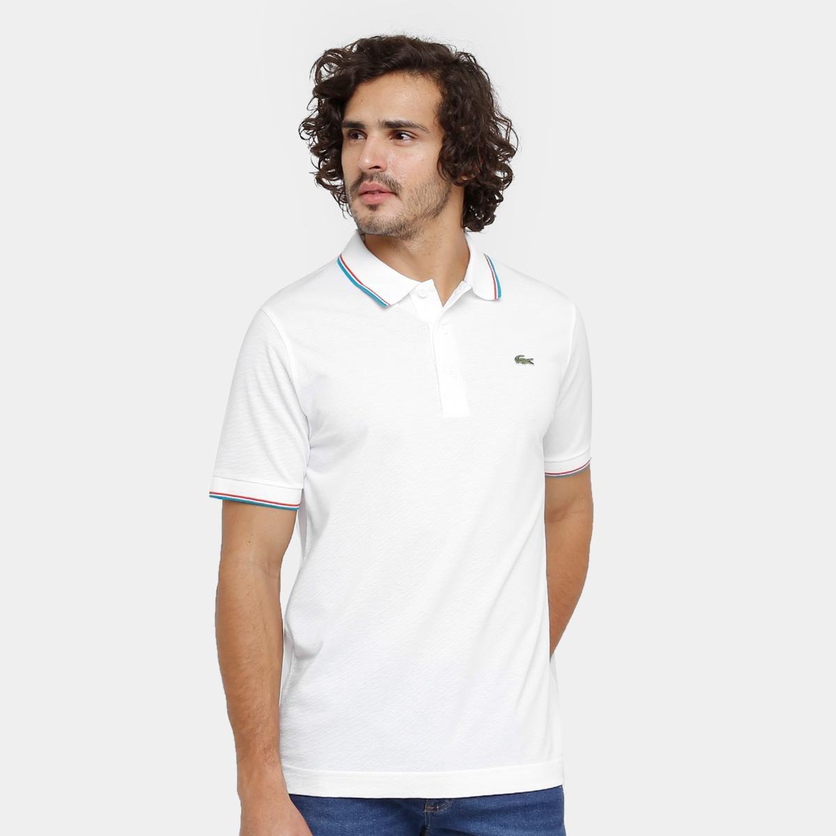 b467b810314 Camisa Polo Lacoste Bordada Masculina - Branco e Azul Claro - Compre Agora