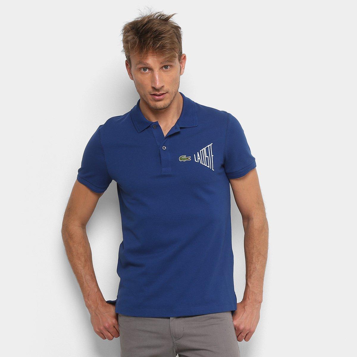 ee84320676 Camisa Polo Lacoste Clássica Masculina - Marinho e Branco - Compre Agora