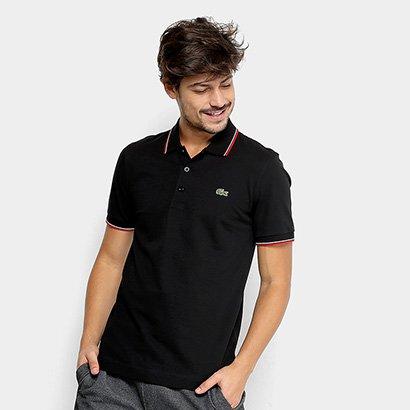 4cd716972ea40 Camisa Polo Lacoste Frisos Masculina - Preto e Vermelho - Compre Agora