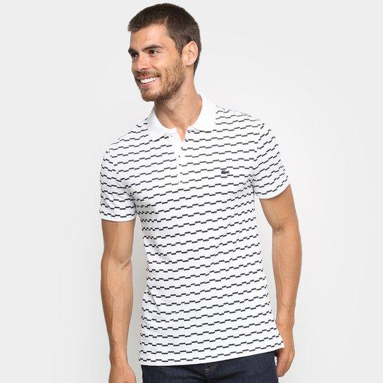 Camisa Polo Lacoste Listrada Degraus Masculina - Branco