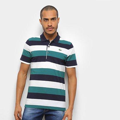 Camisa Polo Lacoste Listrada Manga Curta Masculina
