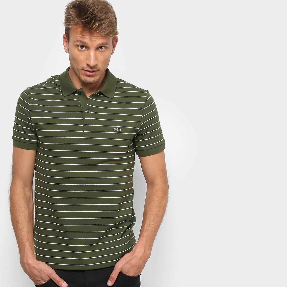 Camisa Polo Lacoste Listrada Masculina - Verde Militar - Compre . 62422184b3