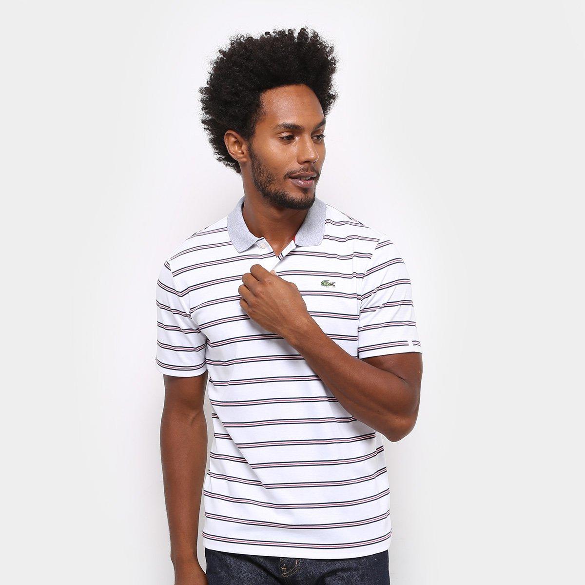 90ca21e9583c1 Camisa Polo Lacoste Listras Masculina - Branco - Compre Agora