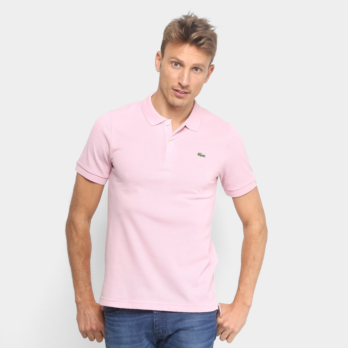 85c842f1ecc1f Camisa Polo Lacoste Live Piquet Masculina - Rosa Claro - Compre Agora