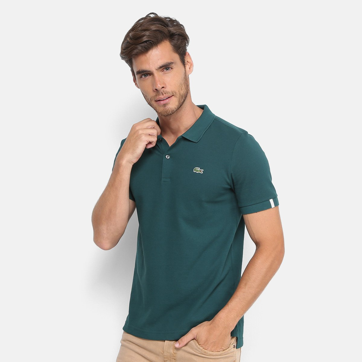 2a5a1add3935c Camisa Polo Lacoste Live Piquet Masculina - Verde - Compre Agora ...