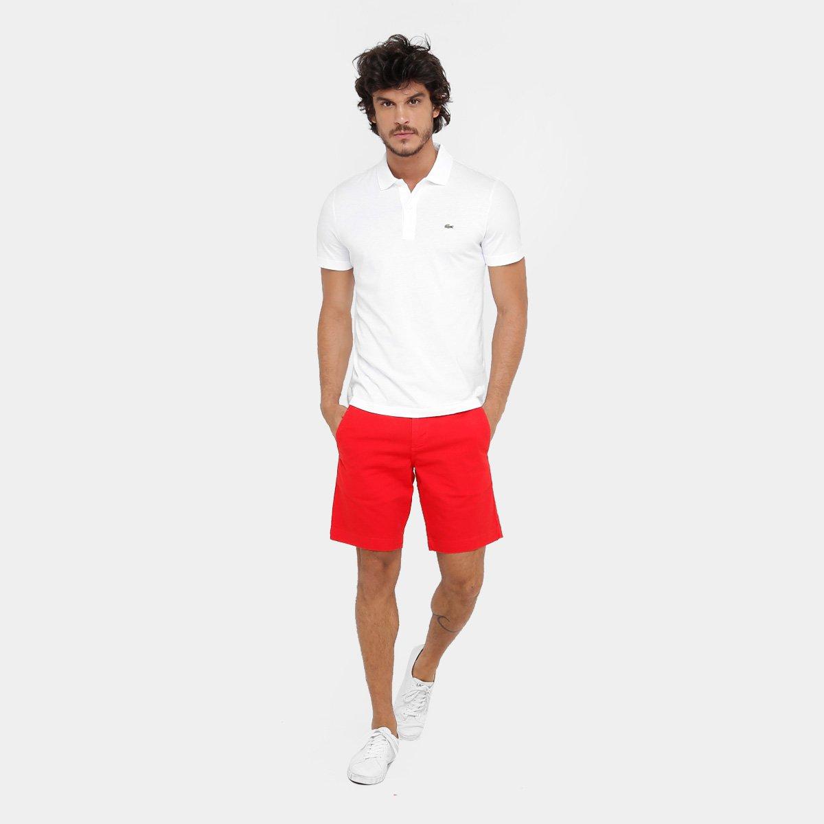 Camisa Polo Lacoste Malha Original Fit Masculina - Branco - Compre ... 875090666d