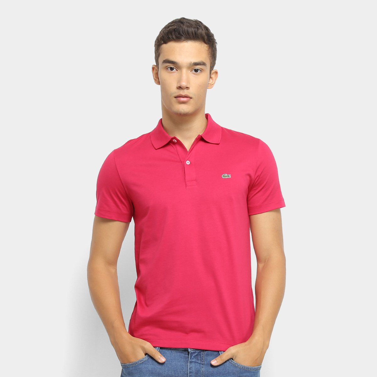 best service 31fbf 30a9e Camisa Polo Lacoste Malha Original Fit Masculina - Rosa