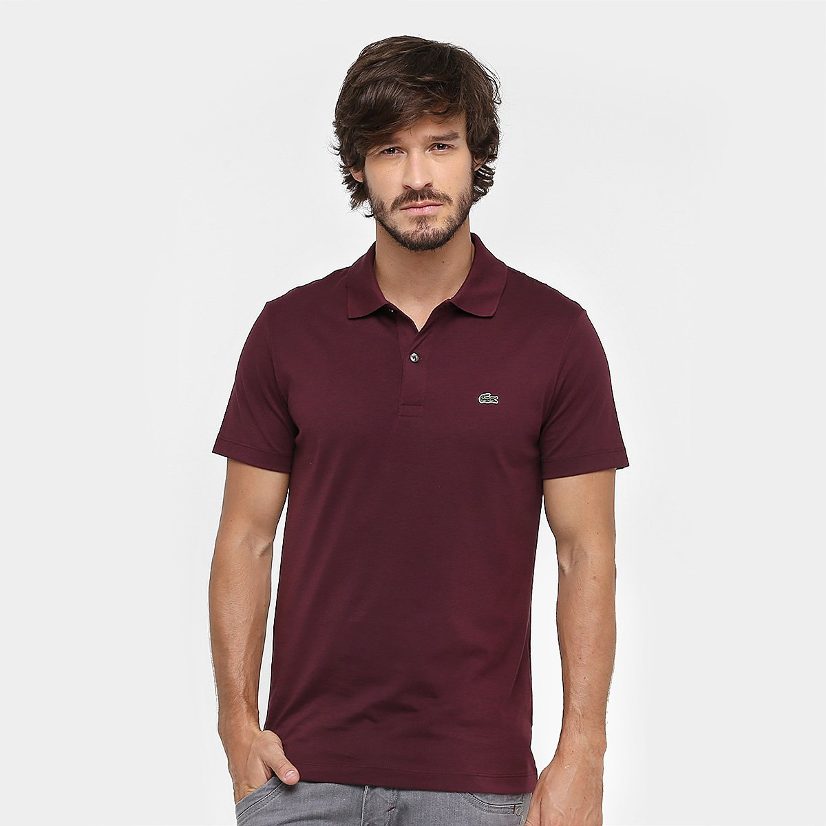 0497afef64529 Camisa Polo Lacoste Malha Original Fit Masculina - Bordô - Compre Agora