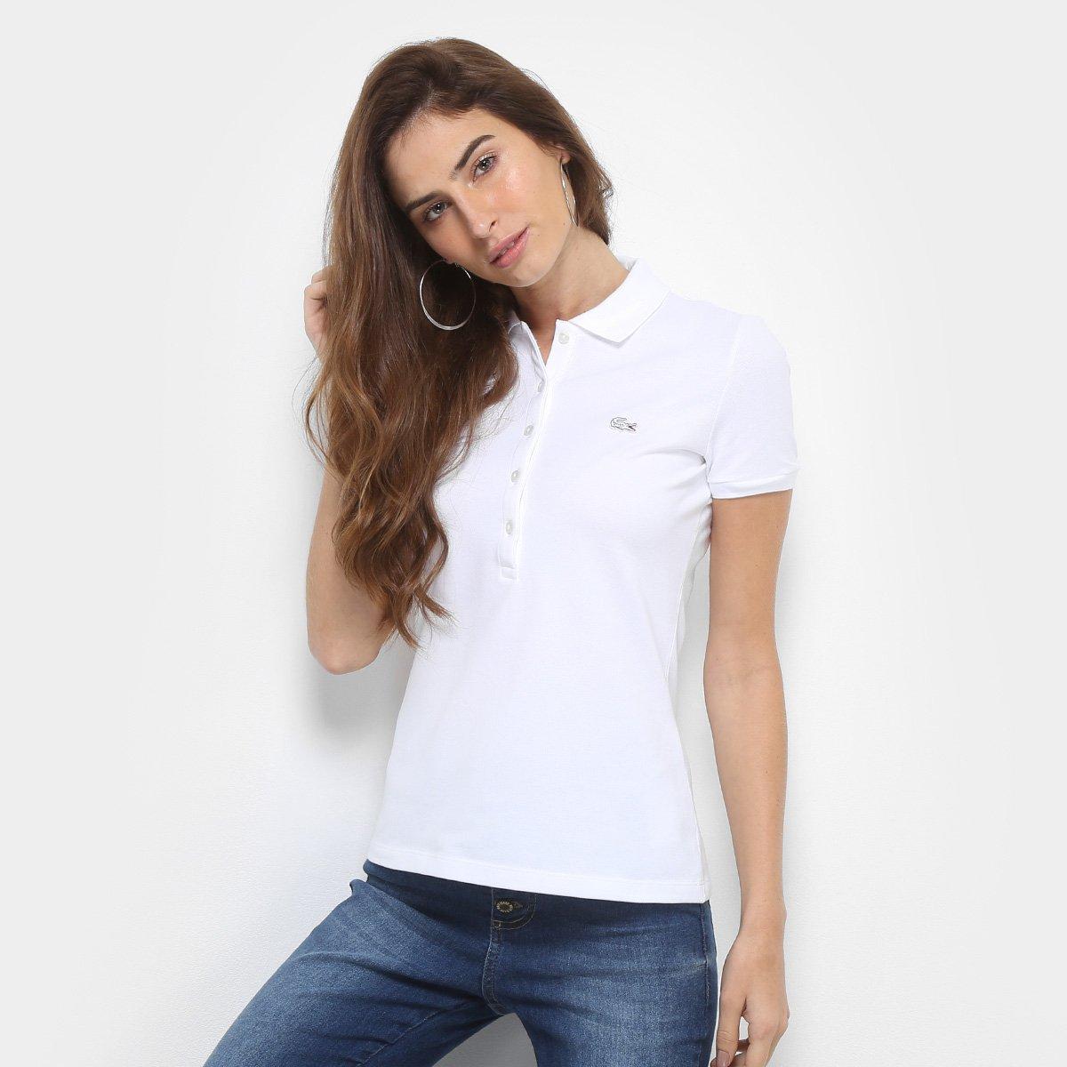 Camisa Polo Lacoste Manga Curta Botões Feminina - Compre Agora ... 58634838c9701