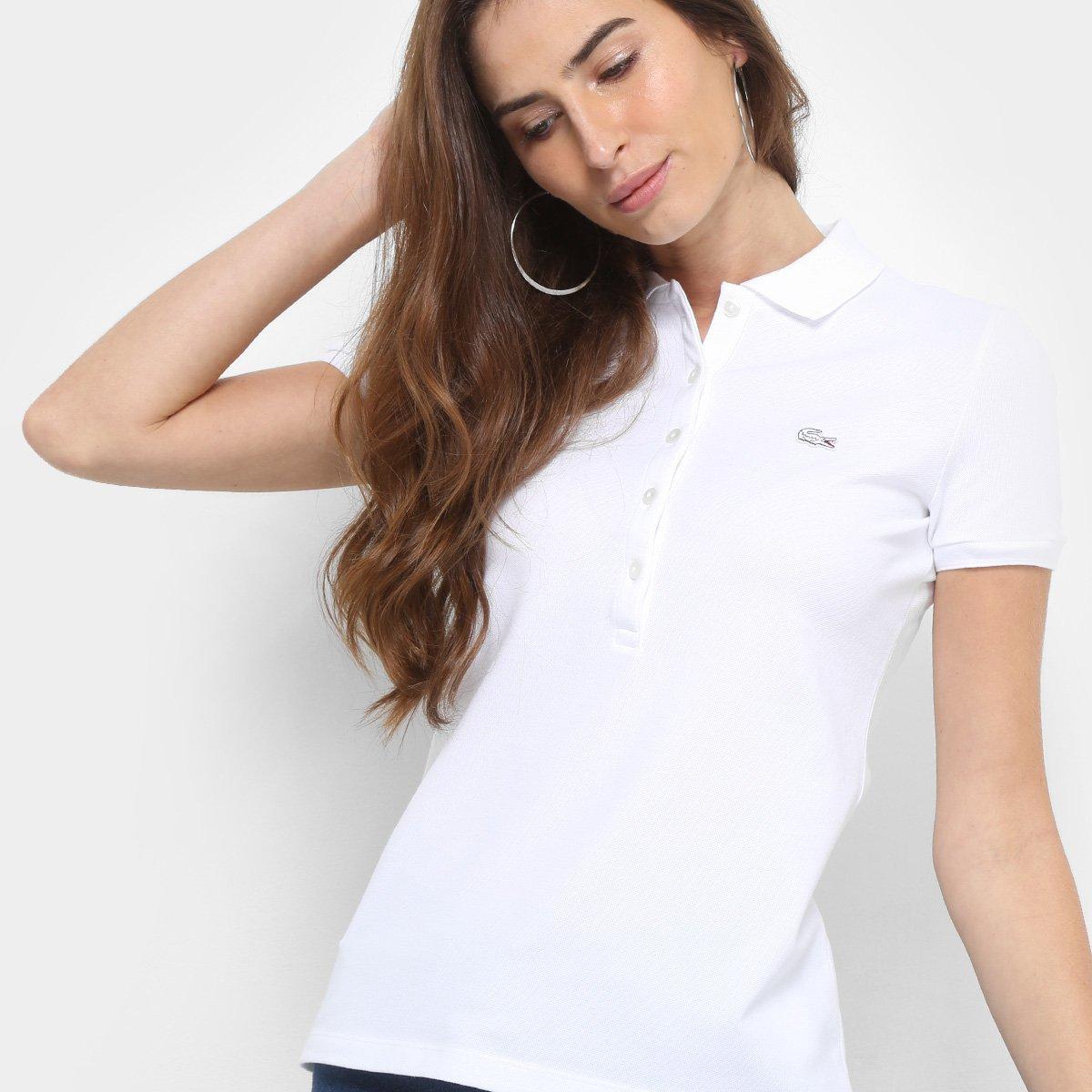Camisa Polo Lacoste Manga Curta Botões Feminina - Compre Agora ... 89784943bd