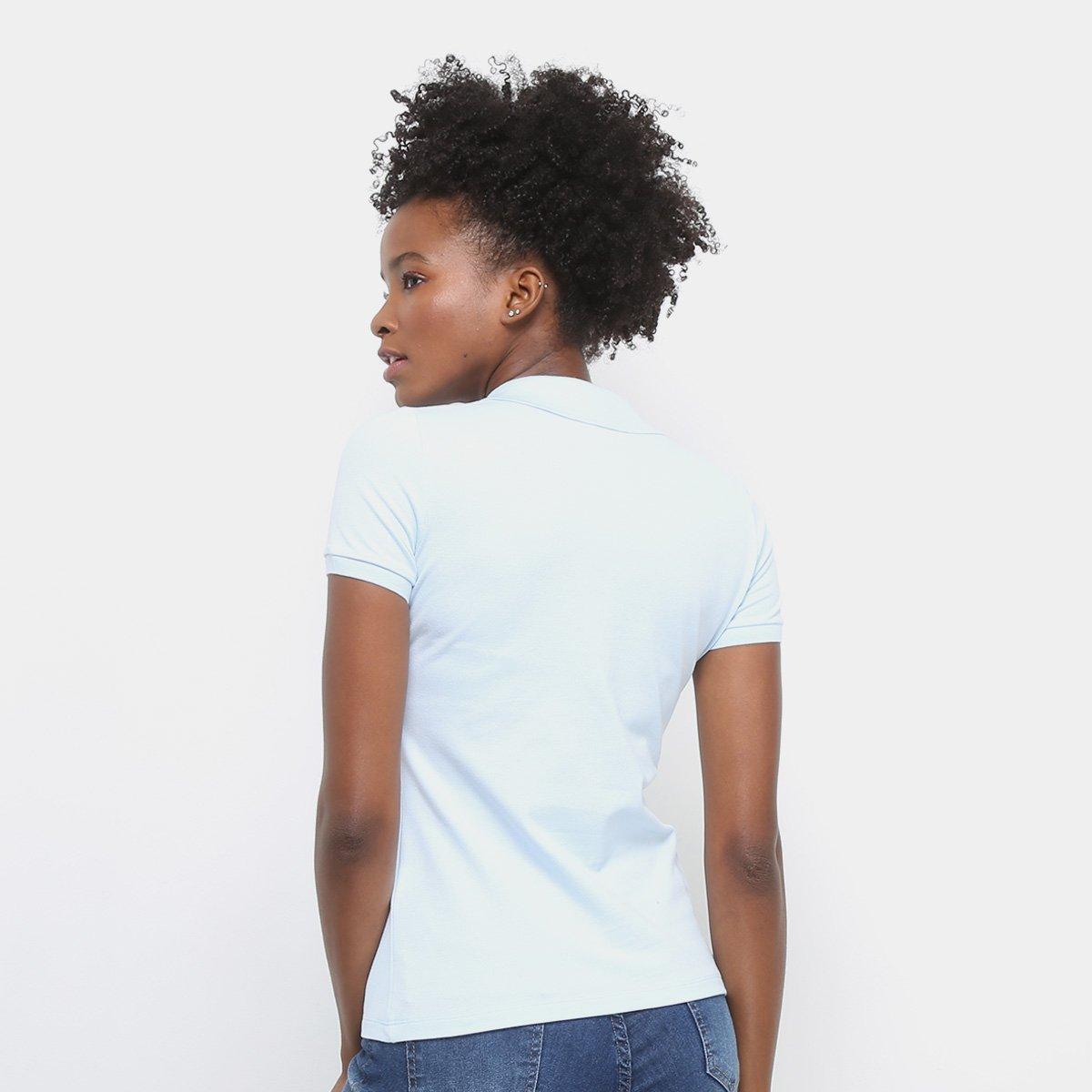 Lacoste Camisa Feminina Azul Camisa Polo Manga Curta Botões Curta Claro Manga Lacoste Polo xFZpZ6nY