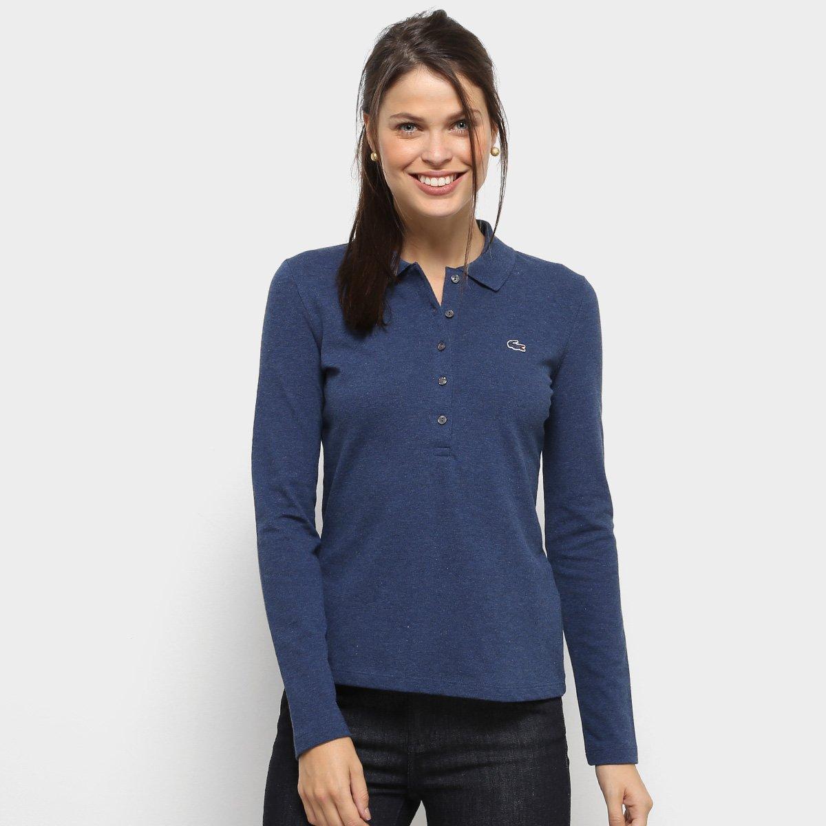 e7c5c222c9cc6 Camisa Polo Lacoste Manga Longa Botões Feminina - Compre Agora ...
