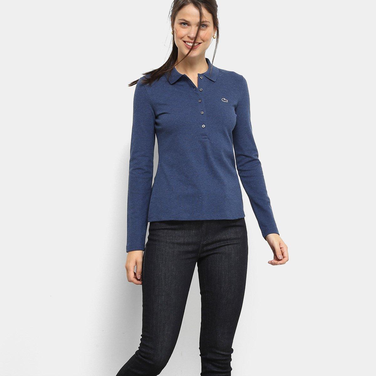 Camisa Polo Lacoste Manga Longa Botões Feminina - Compre Agora ... 457949825d55a