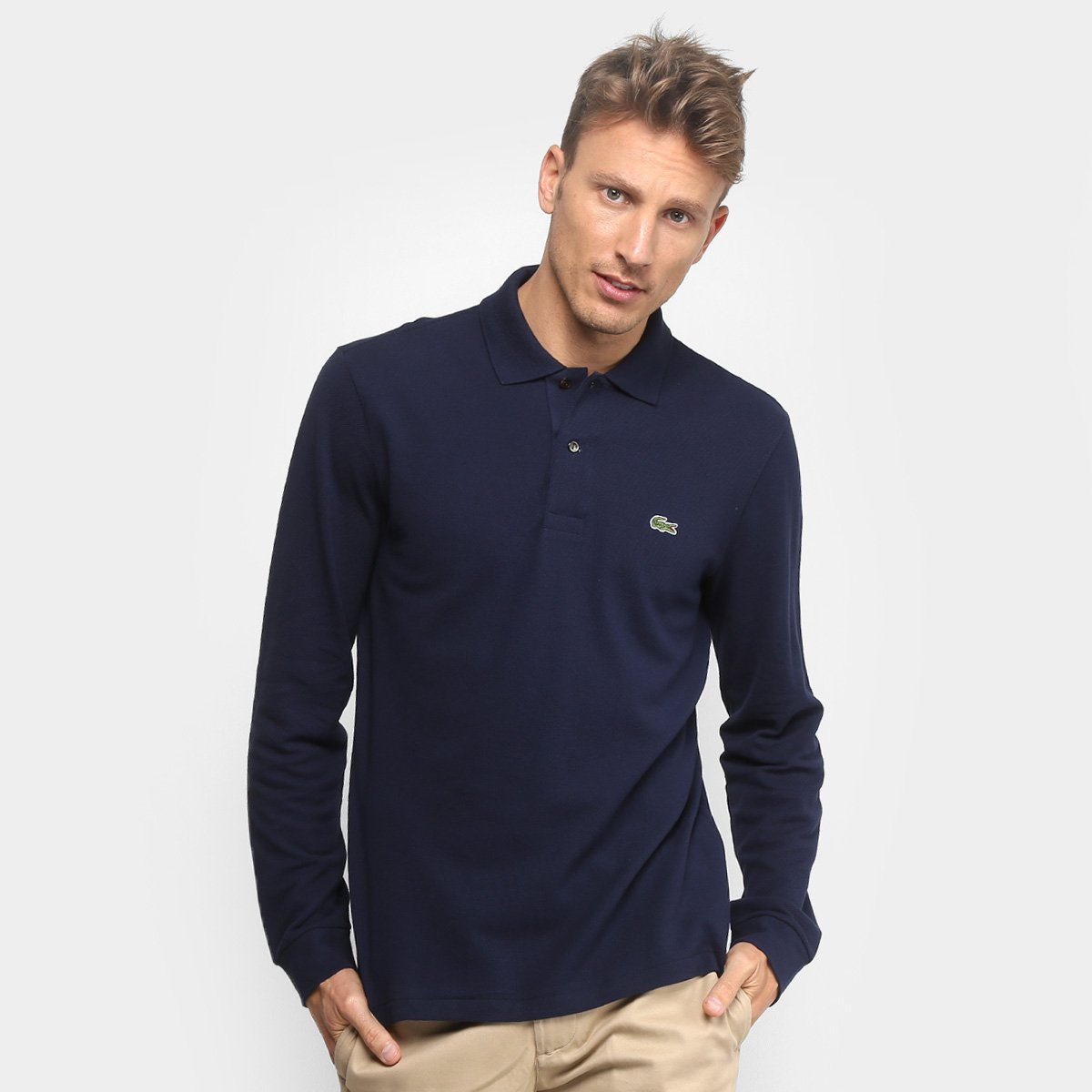 aedf4b9281f Camisa Polo Lacoste Manga Longa Piquet Masculina - Marinho - Compre Agora