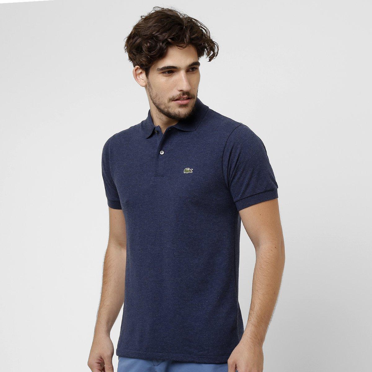0c8437ec37 Camisa Polo Lacoste Mescla Masculina - Azul - Compre Agora